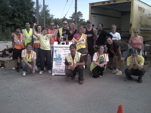 Food distribution volunteers after successfully helping 300 families