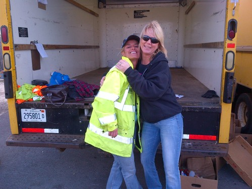 Marilyn and Gail when through distributing a full truck of food at Hillcrest Shopping Center in Crest Hill