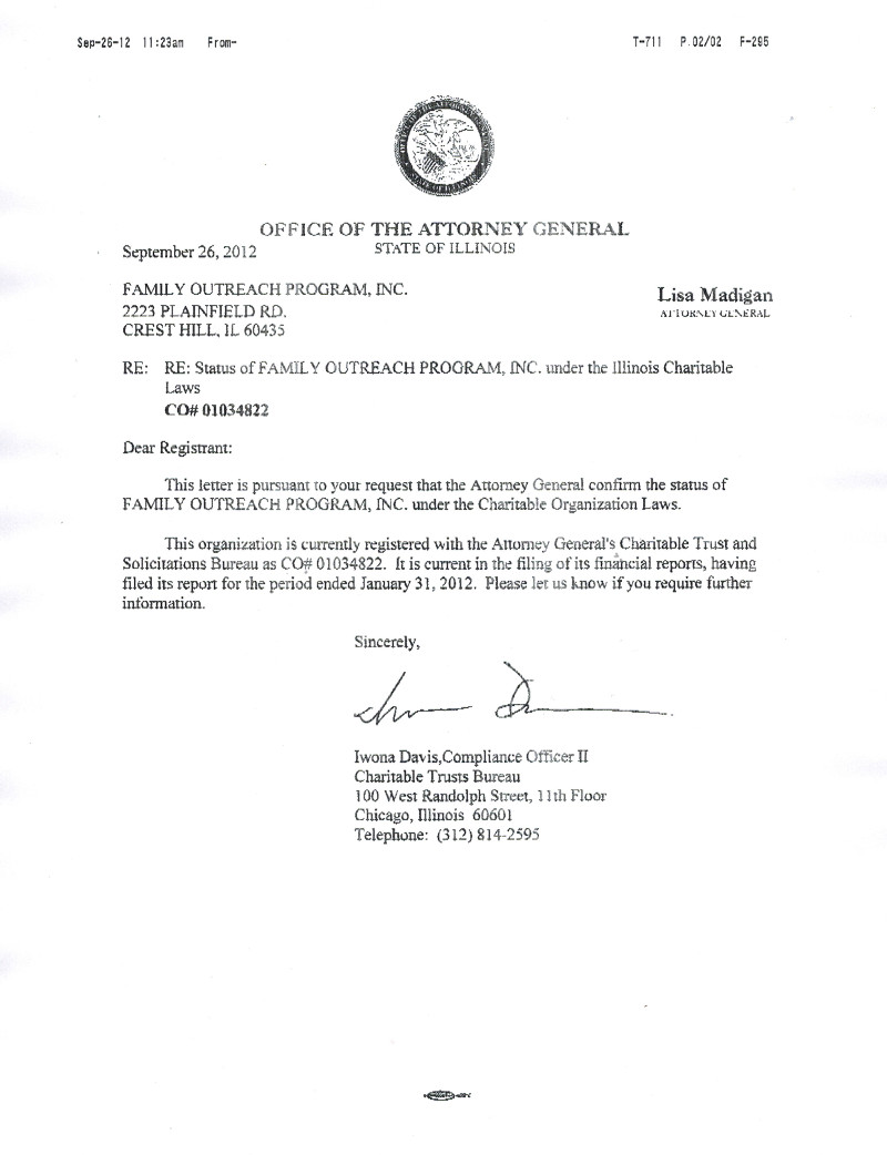 Attorney General Letter of Good Standing